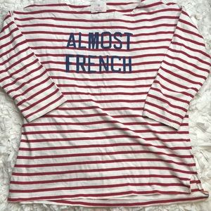 Sundry Almost French Boat Neck Striped Tee